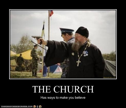 believe,church,coerce,guns,religion,violence
