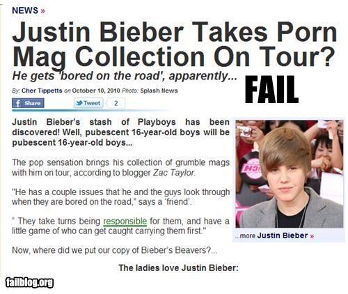 celeb failboat justin bieber magazines Music on tour pr0n Probably bad News teenagers