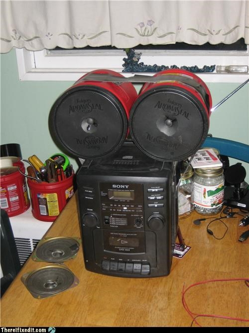 coffee,duct tape,speakers,stereo