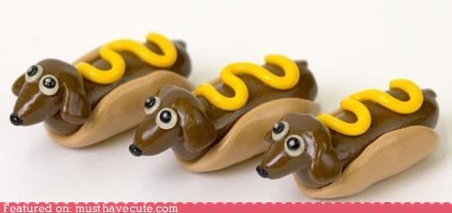 art bun dachshund dogs figurine hot dog mustard pets Teeny - 4056929536