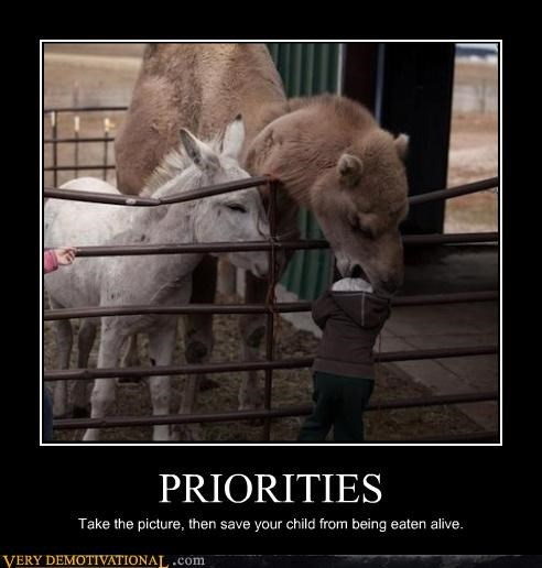 PRIORITIES Take the picture, then save your child from being eaten alive.