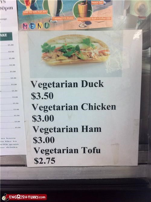 FAIL irony menu vegetarian vietnamese