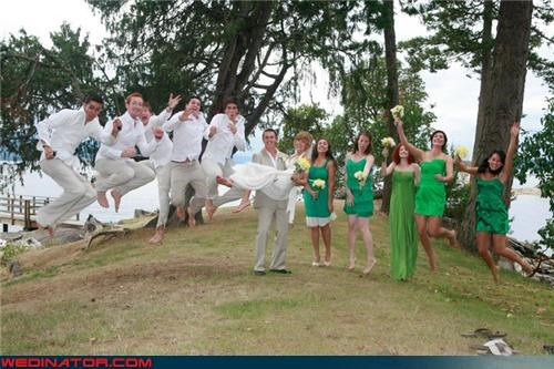 bride fashion is my passion funny wedding photos groom jumping bridesmaids jumping for joy jumping groomsmen surprise were-in-love wedding party