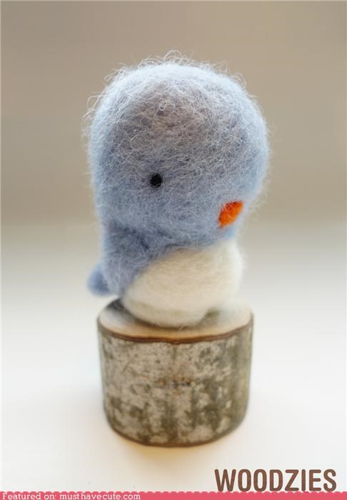 bird blue craft felt felted figurine soft tiny