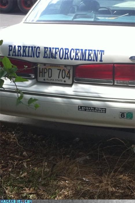 bumper sticker parking police
