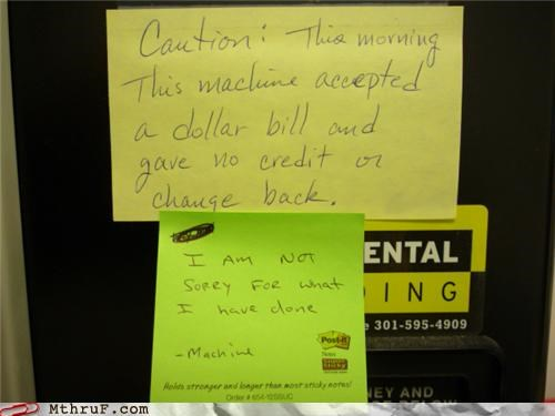 notes sentient stolen thief vending machine