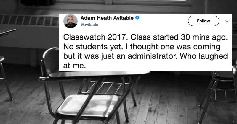 Sad teacher live-tweets his existential crisis when none of his students show up for his class.