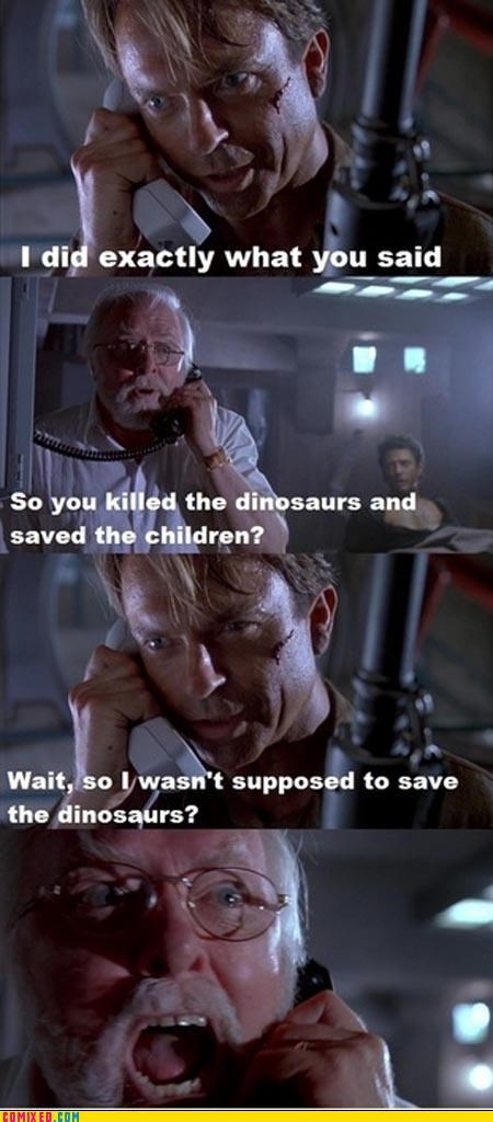 Death,dinosaurs,dr-grant,dr-hammond,From the Movies,jurassic park,mistaken,whoops