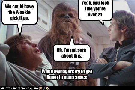 chewbacca drinking Harrison Ford lolz Mark Hamill sci fi star wars - 4062722304
