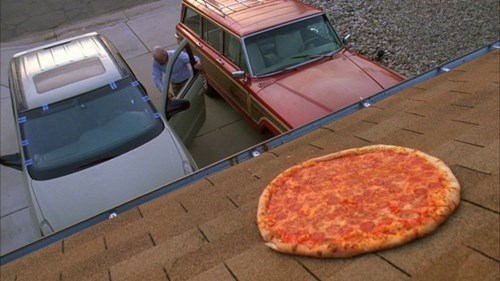 nice lady,vince gilligan,roof,breaking bad,pizza,walter white,better call saul