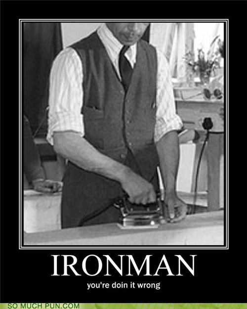 chores,doing it wrong,iron man,ironing,sidekick,war machine