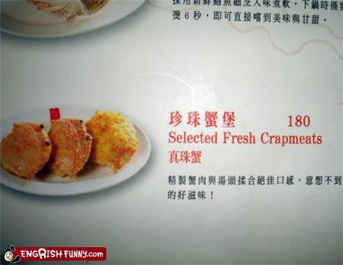 crab,crap,food,menu,misspelled