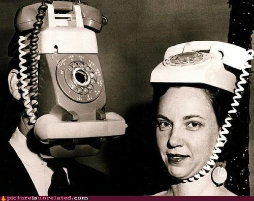 hats mask phones technology vintage wtf