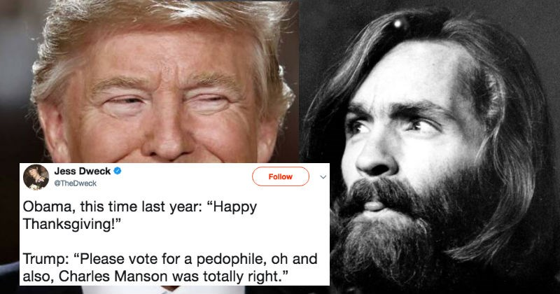 People on Twitter are convinced that Donald Trump just endorsed Charles Manson with a bizarre retweet.