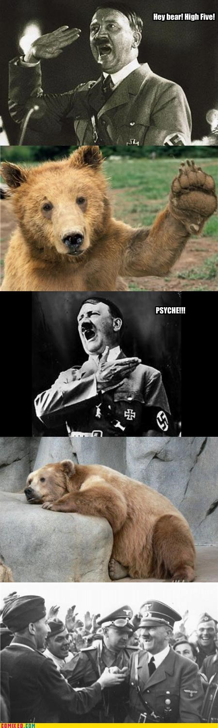 bears,cruel,Germany,high five,hitler,mean,politics