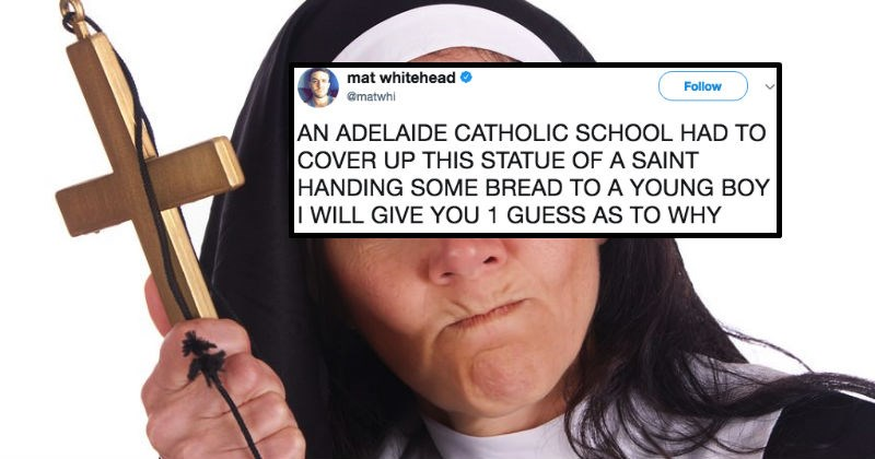 Catholic school forced to cover up a statue because it ended up looking extremely dirty.