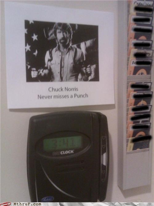 chuck norris clock-in on time passive aggressive
