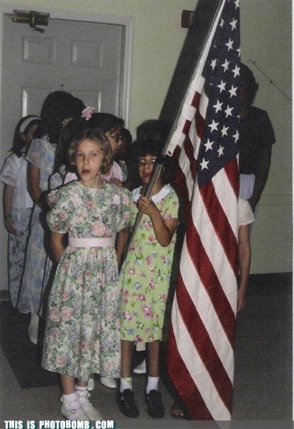 Bombosaurus,crazy eyes,fashion,flag,kids,photobomb,usa