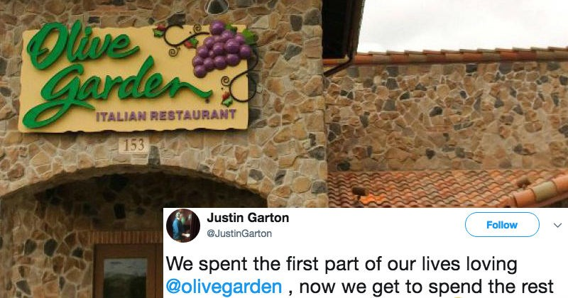 Pasta crazy couple decides to honor Olive Garden by naming their baby after the restaurant.