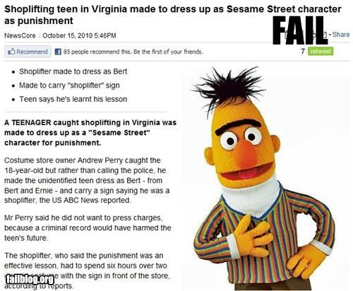 bad idea,costume,failboat,punishment,really,Sesame Street,stealing