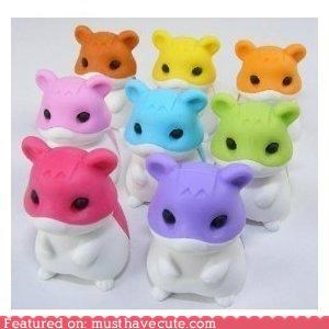 colorful correct erasers hamsters mistakes Office office supplies - 4072536832