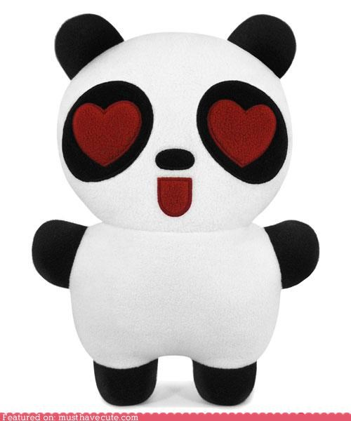 eyes hearts love panda Plush - 4072689664