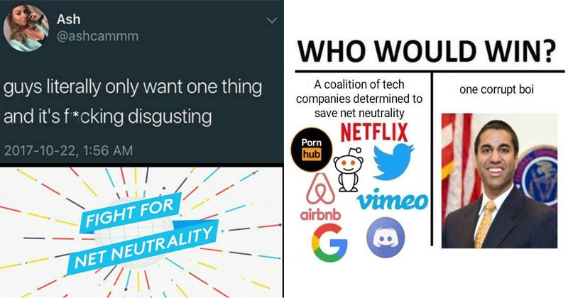 Funny and educational memes about net neutrality and Ajit Pai.