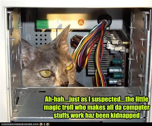 Ah-hah....just as I suspected....the little magic troll who makes all da computer stuffs work haz been kidnapped