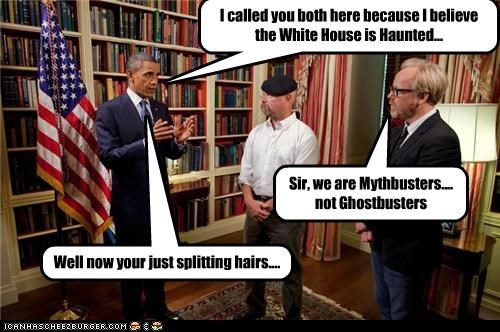 adam savage barack obama Ghostbusters jamie hyneman lolz movies myth busters president science - 4078222336