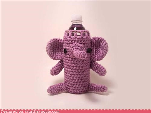 Amigurumi,cover,elephant,purple,water bottle