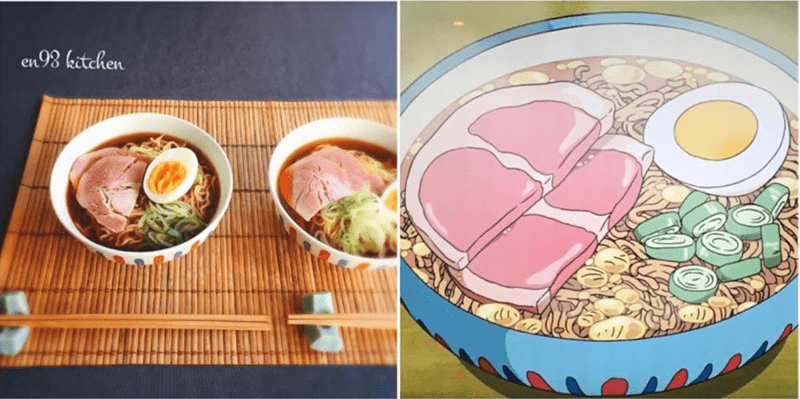 a list of food from anime to real life