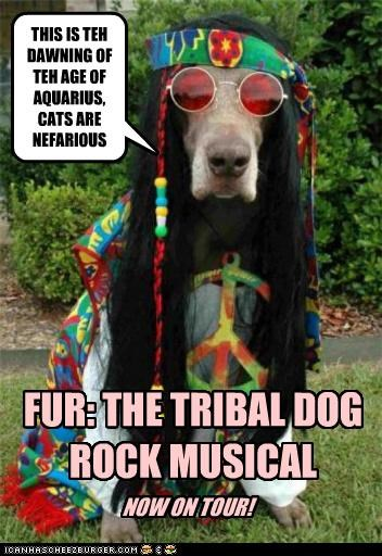 THIS IS TEH DAWNING OF TEH AGE OF AQUARIUS, CATS ARE NEFARIOUS FUR: THE TRIBAL DOG ROCK MUSICAL NOW ON TOUR!