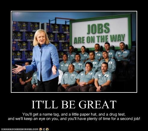 business name condescending economy fast food jobs meg whitman