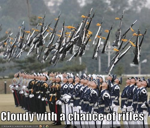falling,guns,military,rain,rifles,soldiers,weather