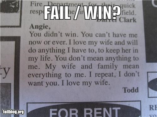 Ad classified Fail-Win failboat love marriage on the side poll wife