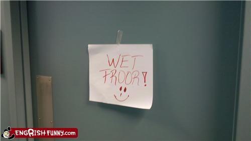 door sign wet floor