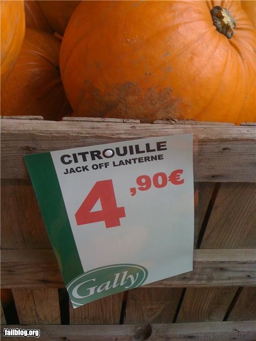 Pumpkin fail... Taken in a French produce store...