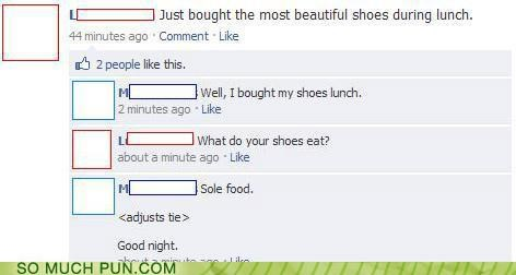 comment,facebook,food,heel,hilarious,homophone,off-rhyme,sole,soul,soul food,status update