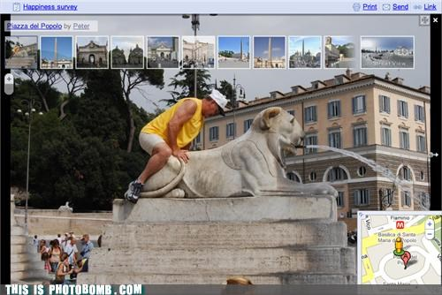 caught in the act google google maps humping Italy lion love photobomb rome sexy times Street Bomb that guy - 4085271040