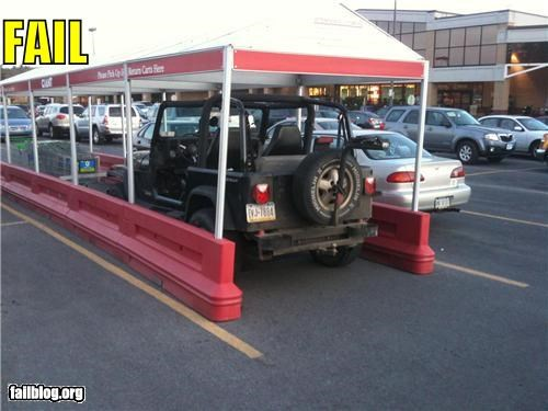 cars,failboat,jeeps,parking,rated g,shopping cart receptacle