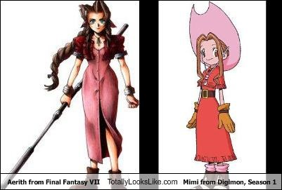 aerith from final fantasy vii totally looks like mimi from digimon