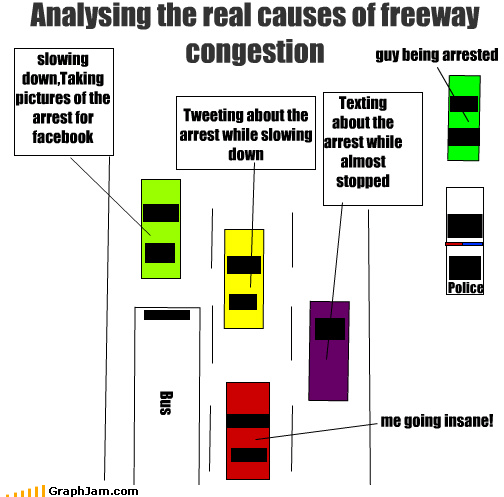 Analysing the real causes of freeway congestion Bus slowing down,Taking pictures of the arrest for facebook Tweeting about the arrest while slowing down Texting about the arrest while almost stopped guy being arrested Police me going insane!