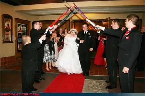 arch of light sabers wedding awesome wedding exit best wedding exit ever Crazy Brides crazy groom fashion is my passion funny wedding photos groomsmen light sabers light saber star wars themed wedding star wars themed wedding exit star wars wedding exit were-in-love wedding party Wedding Themes