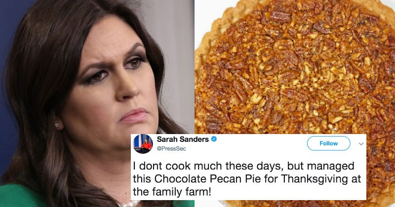 White House Press Secretary gets trolled on Twitter after sharing picture of her real pecan pie she baked.