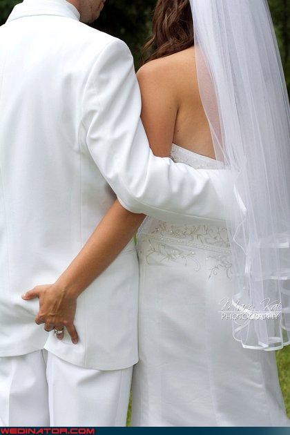 bride bride and groom get frisky butt grabbing eww fashion is my passion funny wedding photos grabby groom groom butt grab grooms-butt love at first squeeze surprise toosh squeeze were-in-love - 4086876416