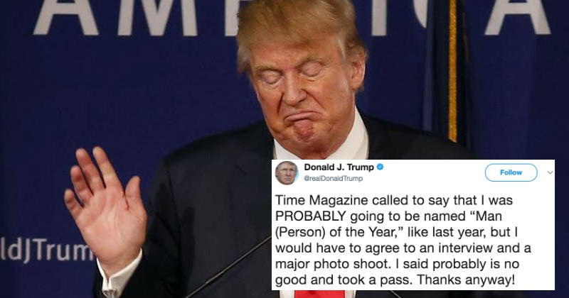 Donald Trump claims that he's going to Time Magazine's Person of the Year, and gets destroyed on Twitter.