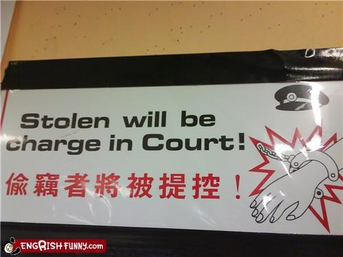 charge engrish notice stolen