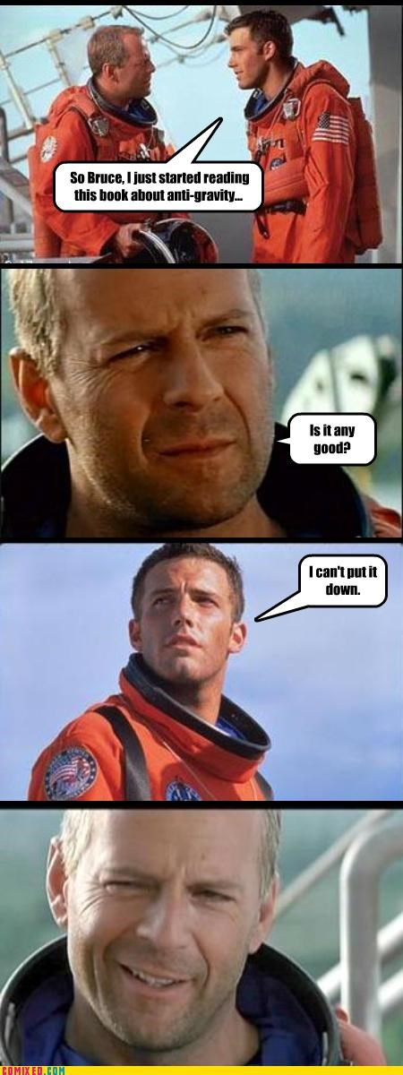 Armageddon ben affleck books bruce willis From the Movies puns reading - 4087817984