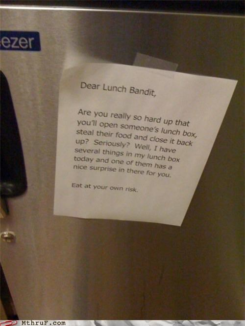 lunch,notes,passive aggressive,refrigerator,thief