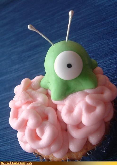 brain,brain slug,cupcake,fondant,futurama,Sweet Treats